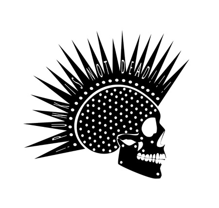 Punk is not dead skull icon side on vector