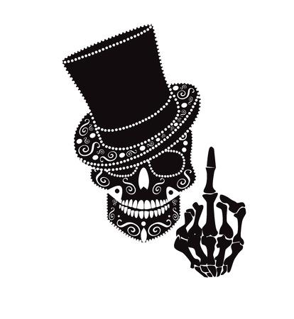 Caballero de icono de calavera con dedo medio y sombrero de cilindro