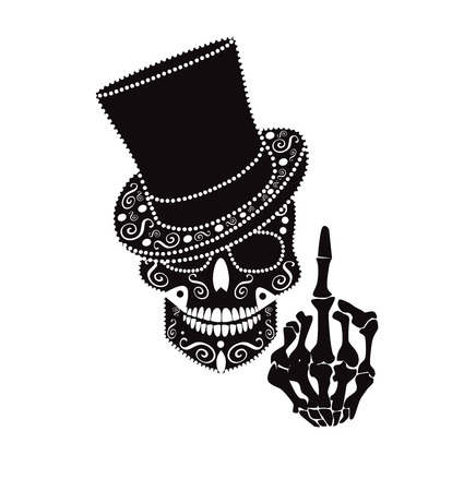 Skull icon gentleman with middle finger and cylinder hat Vectores