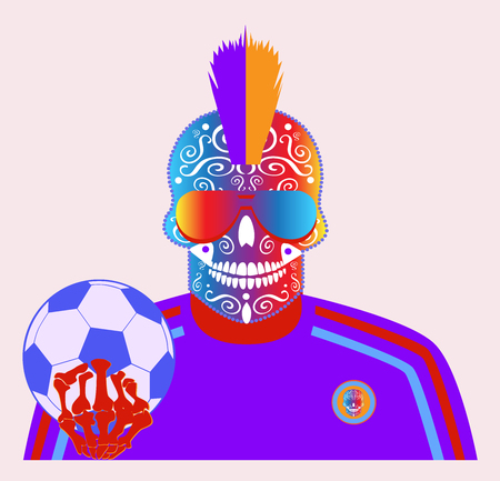 Soccer player skull icon, with ball. Illustration
