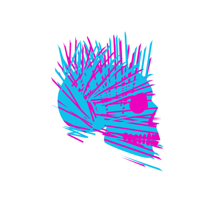 Abstract skull icon with needle vector illustration