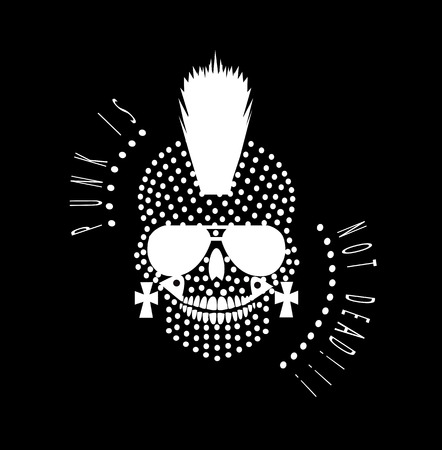 Punk is not dead skull icon with sunglasses and dots Illustration