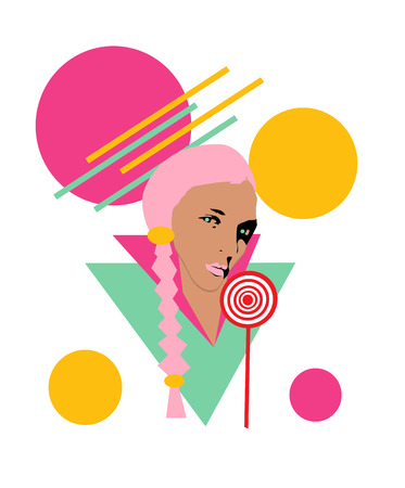 Girl with pigtails, lollipop, circles and geometric icons, abstract background