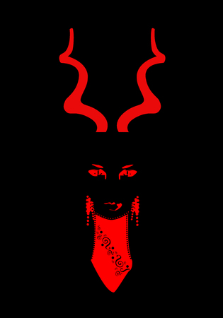 Woman Devil with horns, Halloween background Ilustracja