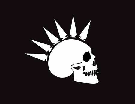 Punk skull icon black & white