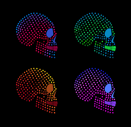 Neon fashion skulls side on with colorful dots