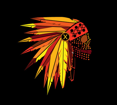 American indian skull with war bonnet dots, yellow
