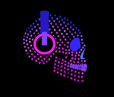 Calavera de azúcar con icono de auriculares Ilustración de vector