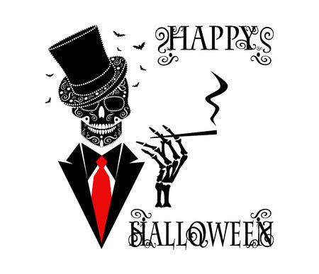 Happy Halloween background skull icon gentlemen with cigarette
