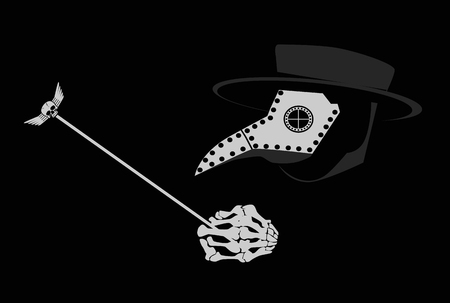 Plague doctor skull black and white background 写真素材
