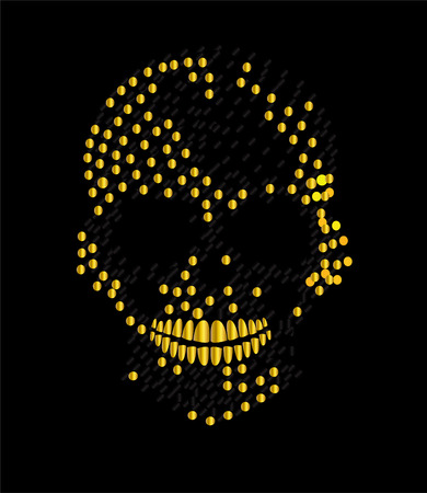 Gold metallic skull icon, artistic background  イラスト・ベクター素材