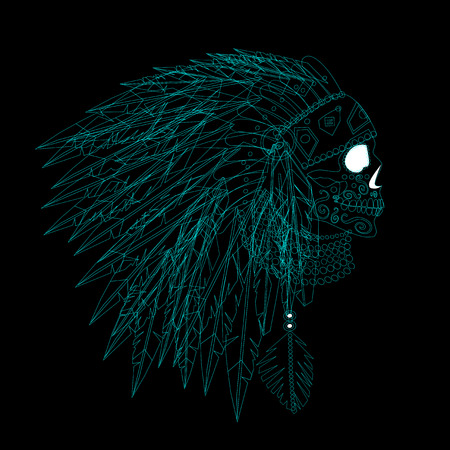 A skull icon wearing American Indian war bonnet neon color. Vector background