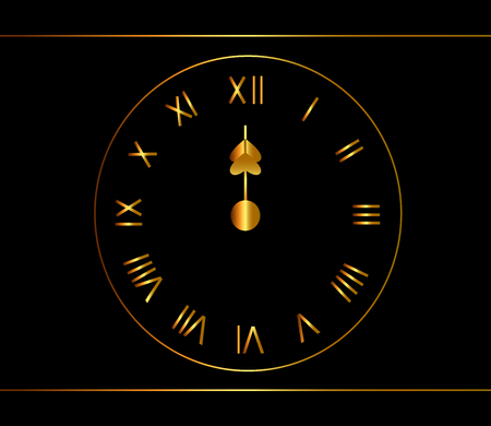 Gold clock, midnight, noon background