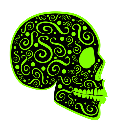 Neon lime green skull icon side on with ornament details, abstract background vector Illustration