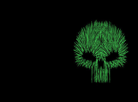 Green skull icon neon color background, vector  イラスト・ベクター素材