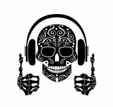 Icono de DJ Skull en blanco y negro Ilustración de vector