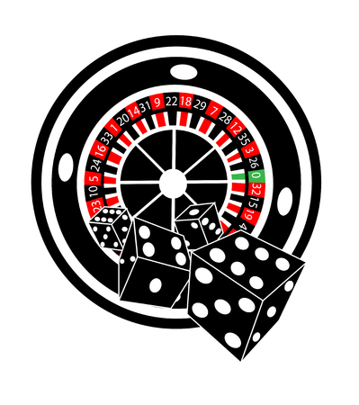 Roulette wheel with dices, black and white