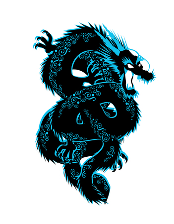 Dragon with ornament details blue color vector background