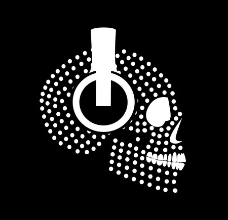 Halftone skull icon with headphone beats white color background