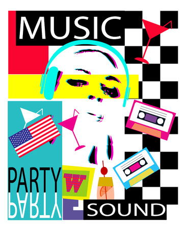 Dj party background with a girl with headphones blue American flag and cassete tape