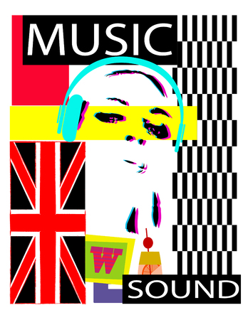 Dj party background with a girl with headphones blue British flag and cassete tape