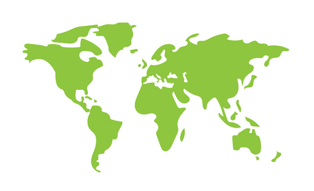 Hand drawn World Map green color, flat vector background Archivio Fotografico - 120992261