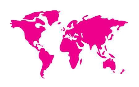 Hand drawn pink World Map vector background