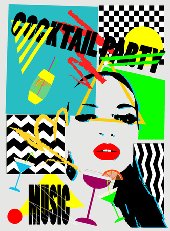 Cocktail party background pop art with a girl Иллюстрация