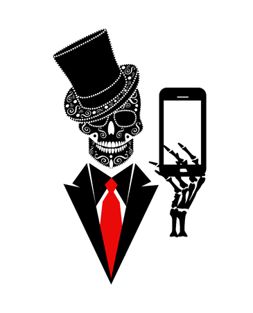 Skull icon gentleman with smartphone vector background cartoon Иллюстрация