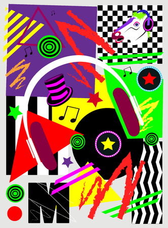 Music pop art background with headphones, long play LP and horse head, Archivio Fotografico - 120992258