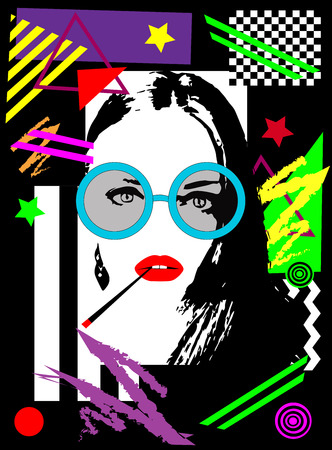 Poster of a girl with sunglasses and cigarette, vivid colors, pop art background Archivio Fotografico - 120992273