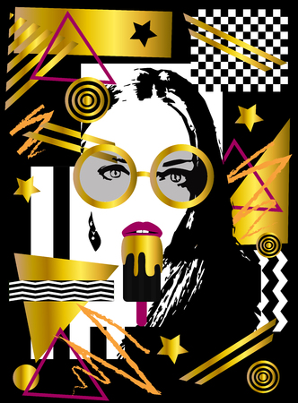 Girl with ice cream and sunglasses, geometric gold pop art background