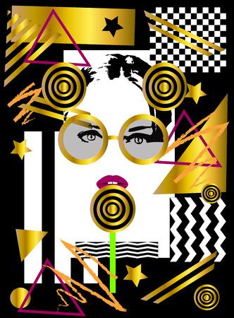 Girl with lolipop geometric gold pop art background Фото со стока
