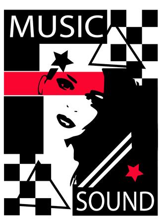 Music sound pop art with a girl