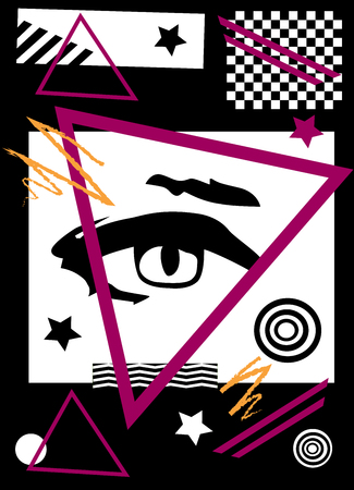 Abstract pop art background with eye, black and white