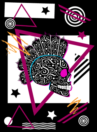 Abstract background with punk skull icon with mohawk geometric black and white Иллюстрация