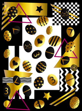 Easter background with eggs, gold and black pop art vector illustration