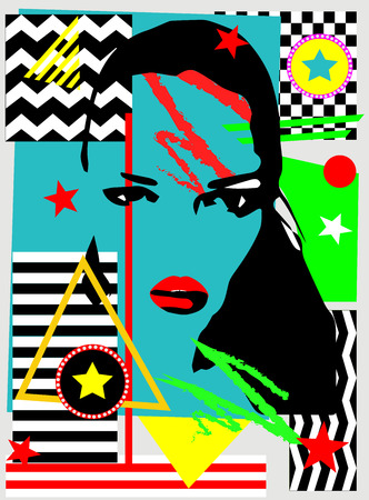 Pop art geometric abstract background with a girl silhouette, vector illustration Archivio Fotografico - 120992282
