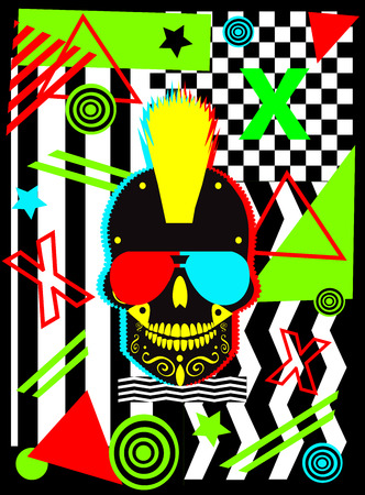 Punk skull icon with Pop art colorful background , vector illustration