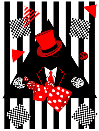 Casino background with skull icon and dices, pop art black and white
