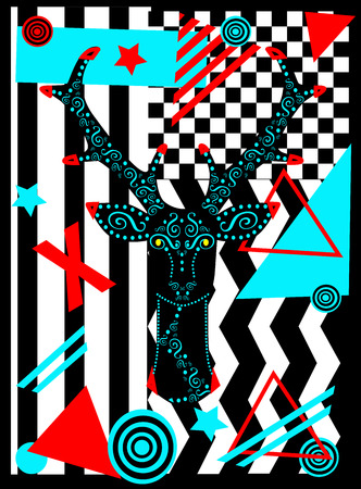 Pop art background with deer head, abstract geometric vector illustration