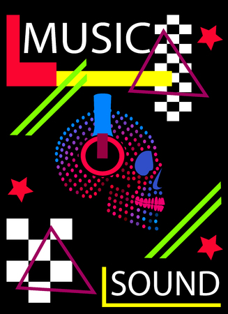 Music halftone skull icon with headphones beats, pop art neon vector background