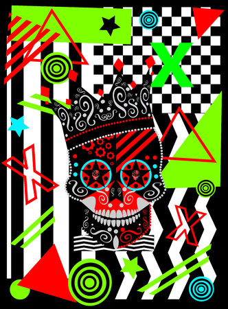 King skull icon with colorful neon pop art zig zag, cubes and stripes background, vector Иллюстрация