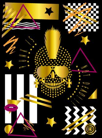 Gold punk skull icon wih Mohawk and sunglasses, pop art background zig zag