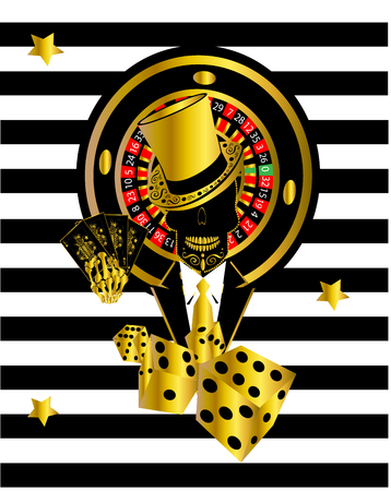Casino skull icon with roulette wheel, skull icon gentlemen, cards and dices, gold color on black and white stripes Archivio Fotografico - 120992291