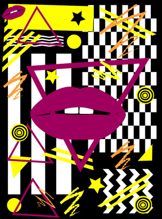 Purple lips in triangle, with pop art yellow abstract geometric background Illustration