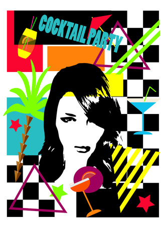 Cocktail party background with a girl, cocktail glass, palm tree and stars, pop art vector illustration