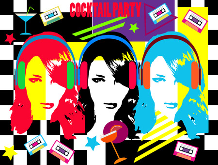 Music coctail party with tree girls, headphones and cassete tape, modern neon colors