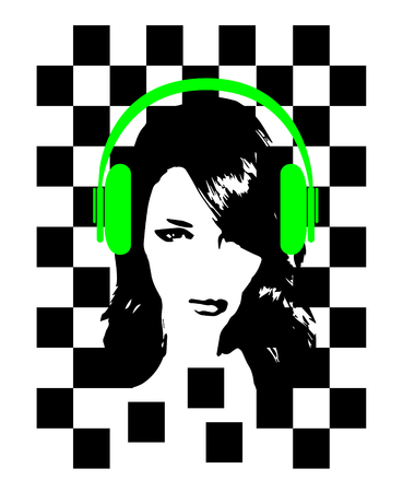 Music backgorund with a girl and headphone beats, neon green color and black and white cubes, vector illustration