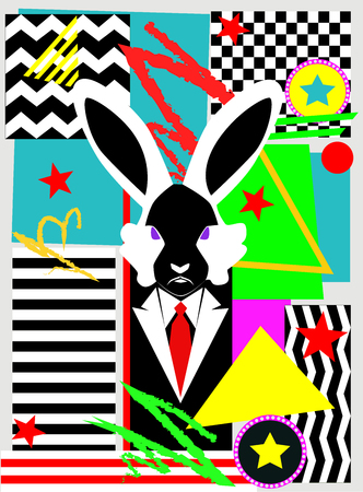 Happy Easter backgrund pop art with rabbit and nenon colors, vector illustration